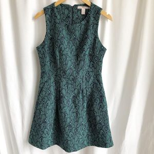 Forever 21 green and black print a-line dress